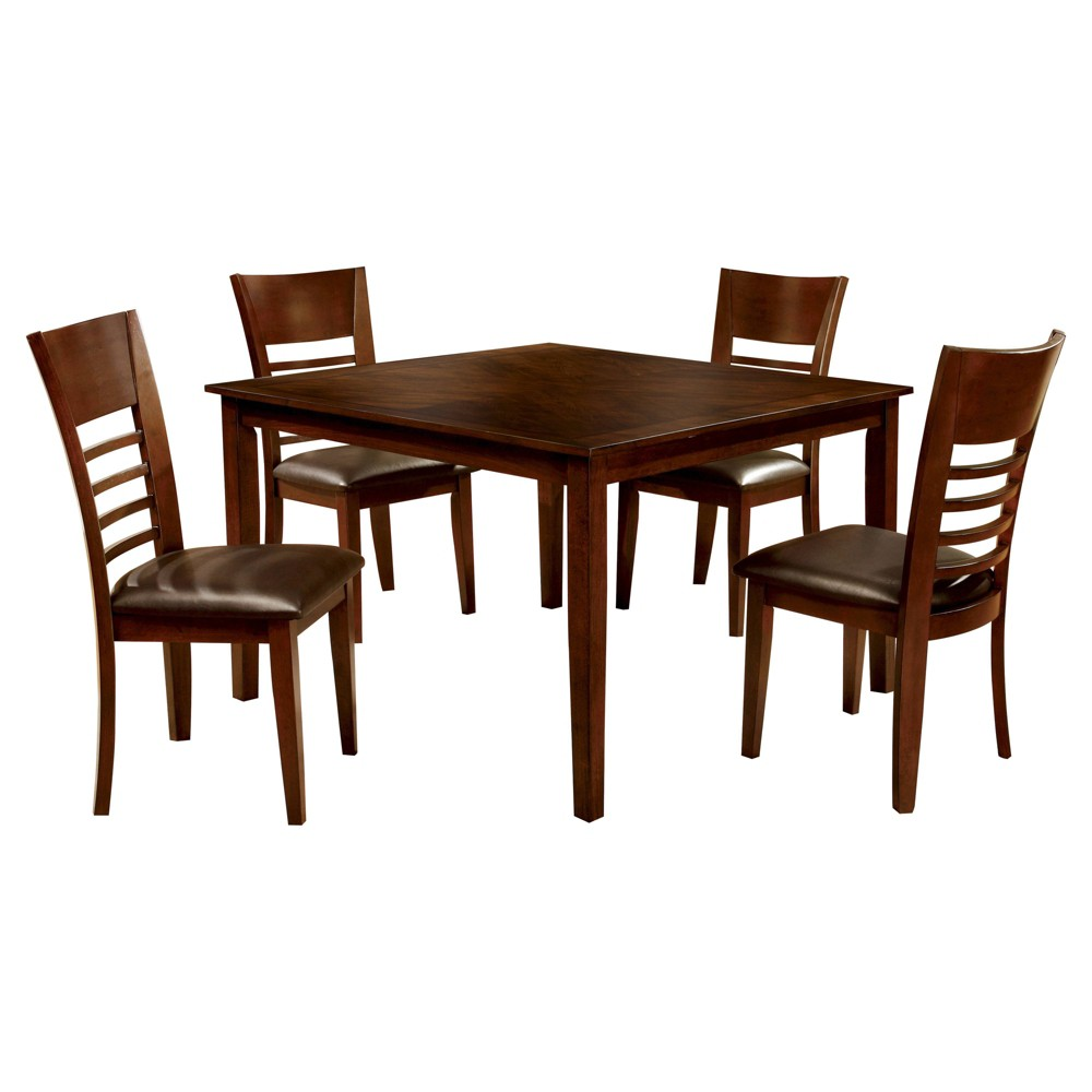 Image of 5pc miBasics Square Dining Table Set Wood/Brown Cherry
