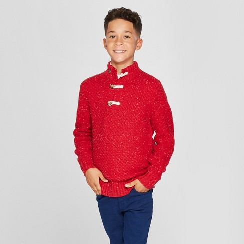 Boys' Long Sleeve Pullover Sweater - Cat & Jack™ Red - image 1 of 3