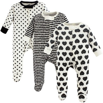Touched by Nature Baby Girl Organic Cotton Zipper Sleep and Play 3pk, Heart