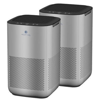 Medify Air MA-15-S2 Compact Home Dorm Office Air Purifier with True H13 HEPA Filter Removes 0.10 Micron Dust Pollen Particles, Silver (2 Pack)