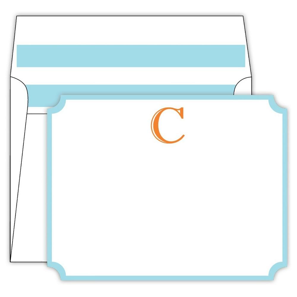 RosanneBECK Collections White Die-Cut Social Set Cabana Stripe Monogram - C