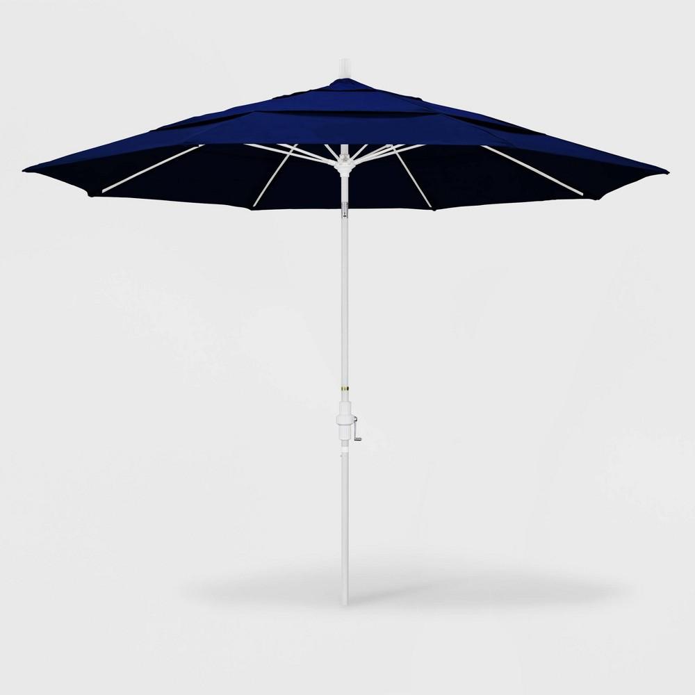 11' Sun Master Patio Umbrella Collar Tilt Crank Lift - Sunbrella True Blue - California Umbrella