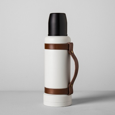 Portable Beverage Mug with Leather Strap (40oz)- Cream/Black - Hearth & Hand™ with Magnolia