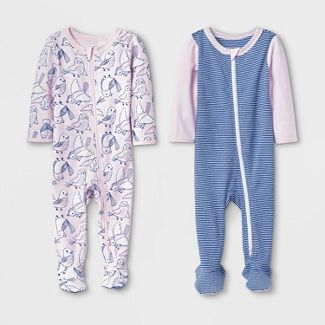 Baby Girls' 2pk Birds and Striped Basic Zipper Sleep 'N Play Pajama - Cat & Jack™ Pink/Blue 3-6M