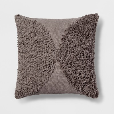 Tufted Half Circle Square Throw Pillow Gray - Project 62™