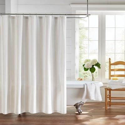 "Farmhouse Living Homestead Stripe Fabric Bathroom Shower Curtain - 72"" x 72"" - Elrene Home Fashions"