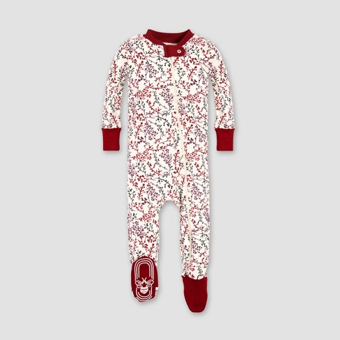 8adbe84b6 Burt s Bees Baby Girls  Organic Cotton Berry Branches Footed Pajama ...