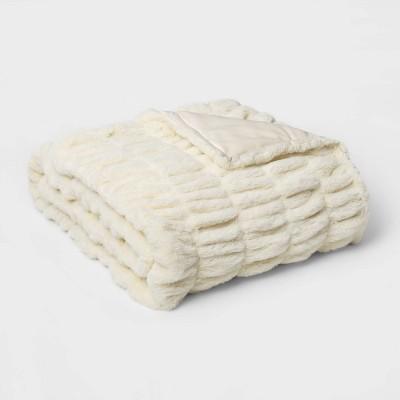 "60"" x 86"" Faux Fur Oversized Throw Blanket Sour Cream - Threshold Signature™"