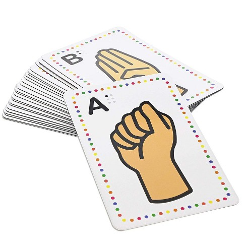 26-Count Magnetic Sign Language Alphabet Flash Cards with Gestures, Uppercase Letters Card for Kids Learning ABC, Whiteboard, Classroom - image 1 of 4