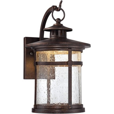 """Franklin Iron Works Rustic Outdoor Wall Light Fixture LED Bronze 11 1/2"""" Seedy Glass Exterior House"""