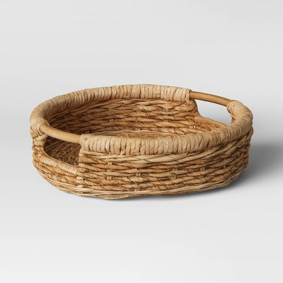 "16"" x 4.5"" Round Tray with Ear Handle Natural - Threshold™"