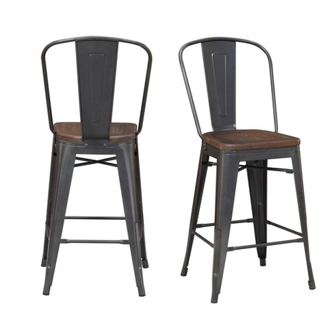 2pc Logan Counter Height Barstools Set Gray - Picket House Furnishings - image 1 of 4