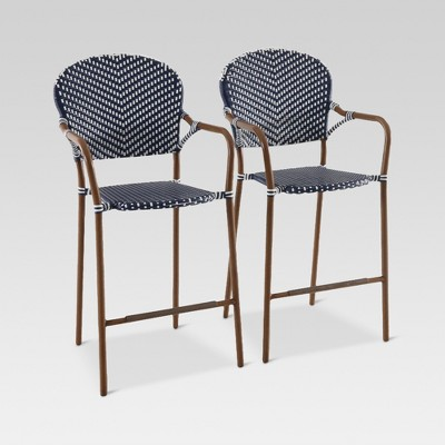 Etonnant French Café 2pk Wicker Patio Bar Chair   Navy/White   Threshold™