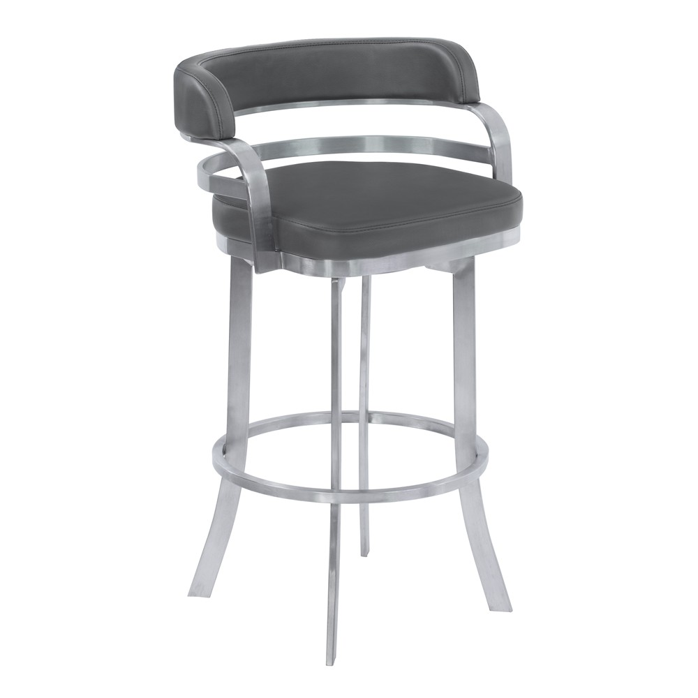 26 Prinz Counter Height Metal Swivel Barstool in Gray Faux Leather with Brushed Stainless Steel Finish - Armen Living