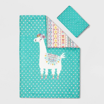 Twin Festive Llama DreamIt Comforter and Pillowcase Turquoise/Pink - South Shore