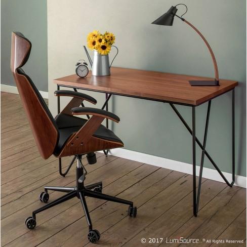 Terrific Spectre Mid Century Modern Adjustable Office Chair Faux Leather Walnut Black Lumisource Unemploymentrelief Wooden Chair Designs For Living Room Unemploymentrelieforg