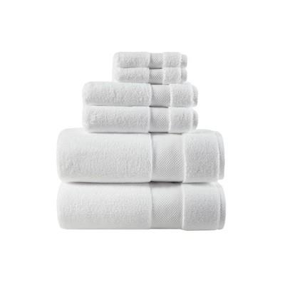 6pc Luxor Cotton Towel Set True White