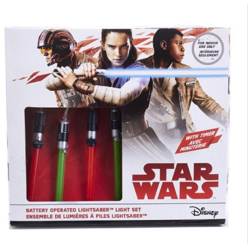 Kurt S. Adler 20ct Star Wars Lightsaber Battery Operated String Lights with Timer - 5.5 ft  Clear Wire - Red/Green - image 1 of 1