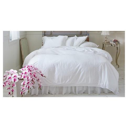 White Crochet Trim Linen Blend Duvet Cover Sham Set King Simply Shabby Chic Target