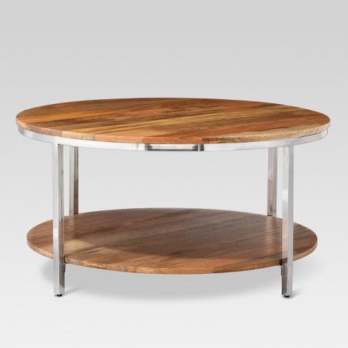 Berwyn Round Coffee Table Metal And Clear Wood Threshold Target