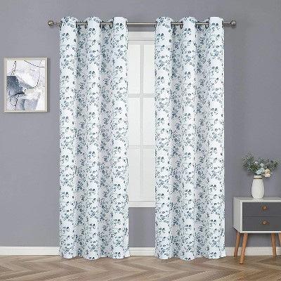 Kate Aurora Living Cherry Blossom Designed Grommet Top Window Curtains - 52 in. W x 84 in. L, Blue