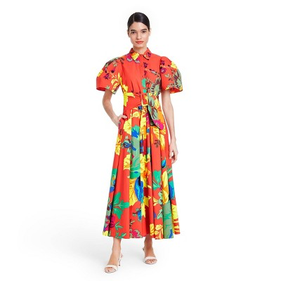 Floral Puff Sleeve Shirtdress - Christopher John Rogers for Target Red