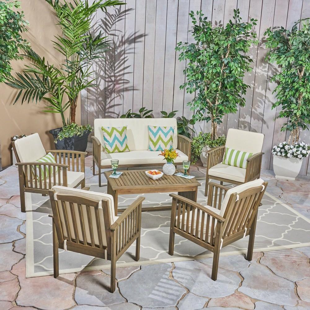 Carolina 6pc Acacia Wood Chat Set - Gray/Cream (Gray/Ivory) - Christopher Knight Home