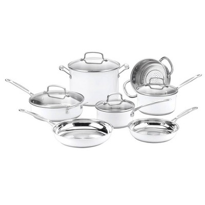 Cuisinart Chef's Classic 11pc Stainless Steel Series White Cookware Set - CSMW-11G