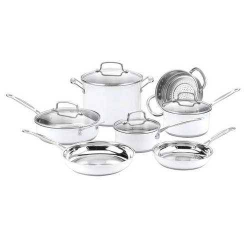 Cuisinart Chef's Classic 11pc Stainless Steel Series White Cookware Set - CSMW-11G - image 1 of 3