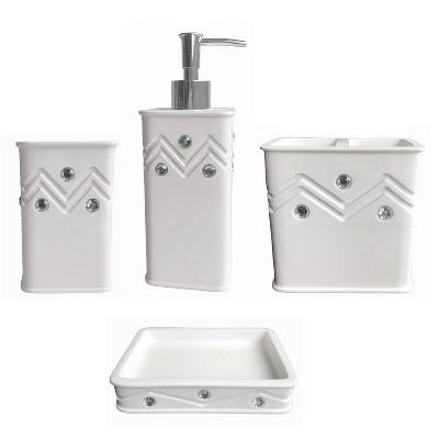 4pc Diamond Bath Set White - Popular Bath