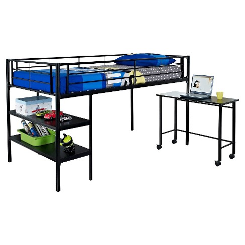 Premium Metal Twin Low Loft Bed With Desk Black Saracina Home