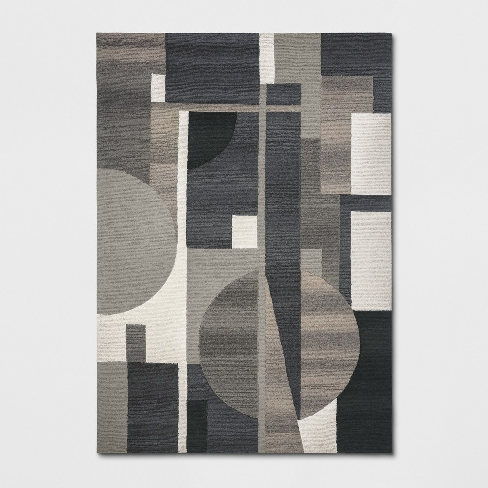 7'X10' Tufted Color Block Area Rug Gray - Project 62