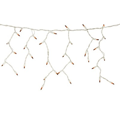 Northlight 100 Count Orange Mini Icicle Christmas Lights - 3.5 ft White Wire