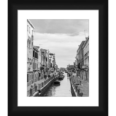 """15"""" x 13"""" Matted to 2"""" Small Afternoon In Venice II Picture Framed Black - PTM Images"""