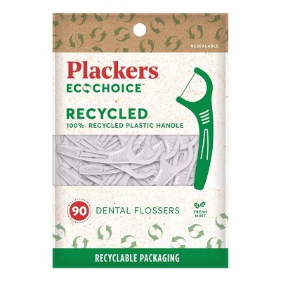 Plackers EcoChoice 100% Recycled Plastic Dental Floss Picks with Fresh Mint -  90ct