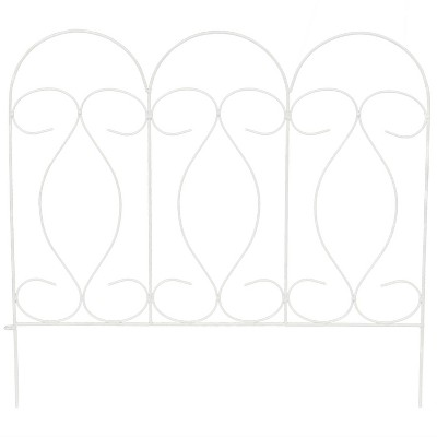 Sunnydaze Outdoor Lawn and Garden Metal Traditional Style Decorative Border Fence Panel Set - 10' - White - 5pk