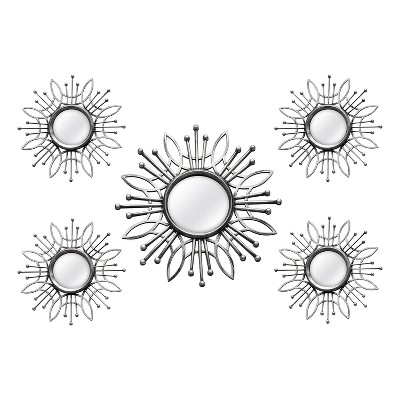 5pc Burst Wall Mirror Silver - Stratton Home Decor
