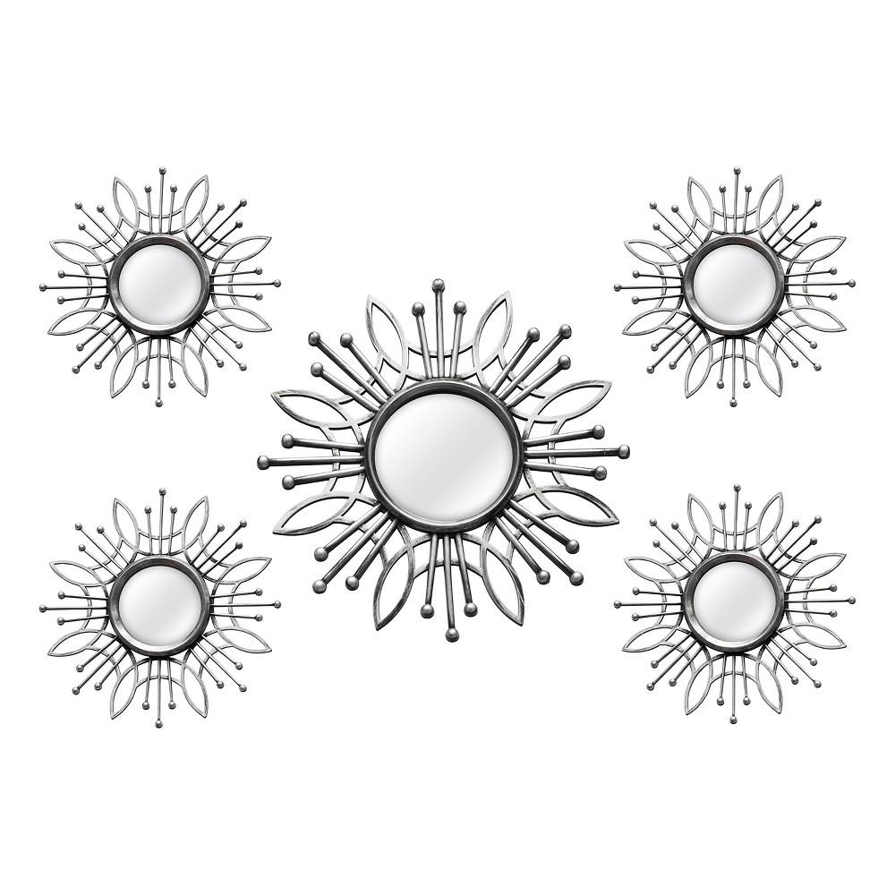 Image of 5pc Burst Wall Mirror Silver - Stratton Home Decor