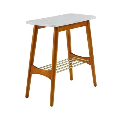 Barbara Mid-Century Modern Side Table with Lower Storage Rack - Saracina Home