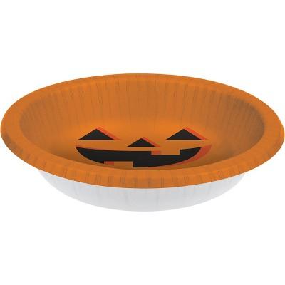 20oz 8ct Halloween Pumpkin Paper Bowl Orange