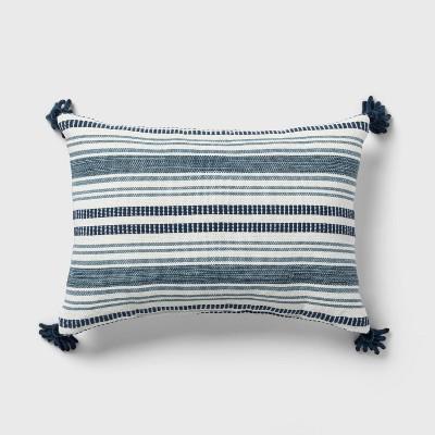 Oblong Stripe Decorative Throw Pillow Cream/Navy - Threshold™