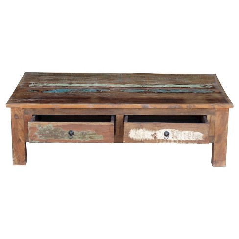 Natural Wood Coffee Table.Reclaimed Wood Coffee Table And Double Drawers Natural Timbergirl