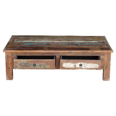 Reclaimed Wood Coffee Table And Double Drawers  Natural   Timbergirl :  Target