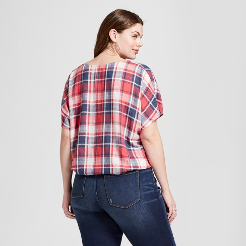 fc651f8f Women's Plus Size Short Sleeve Tie Front Plaid Top - Universal Thread™ Red