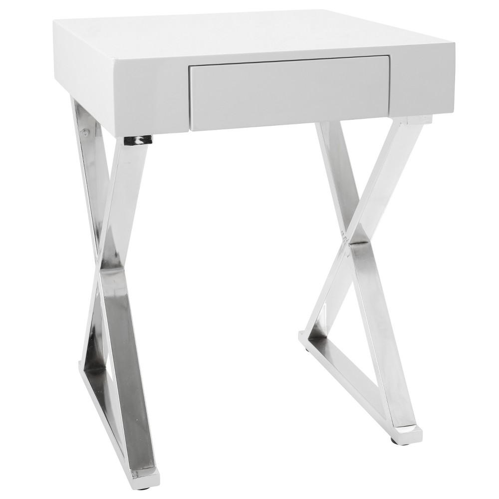 Luster Contemporary Side Table White Chrome - Lumisource