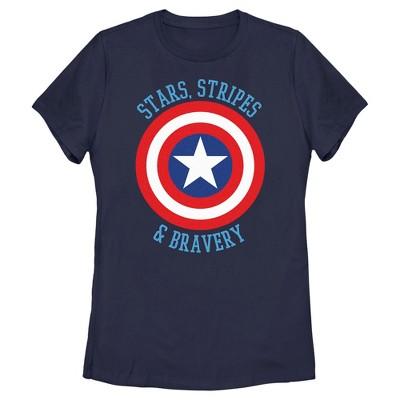 Women's Marvel Avengers Captain America Stars Stripes & Bravery T-Shirt