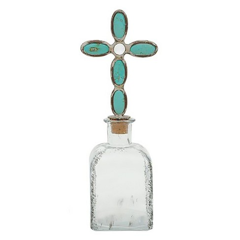Glass Bottle with Cross Stopper - 3R Studios - image 1 of 2
