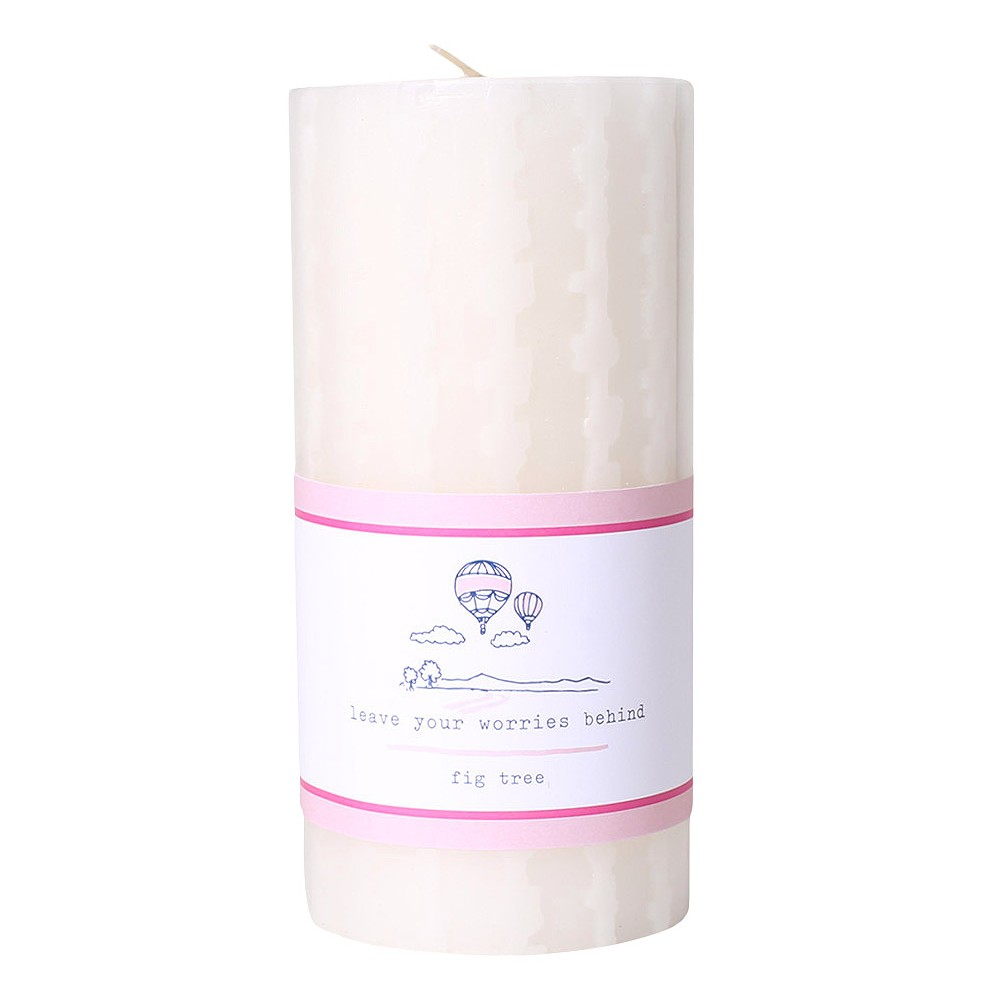 Image of 20.5oz Etched Pillar Candle Fig Tree - Happy Place, Pink