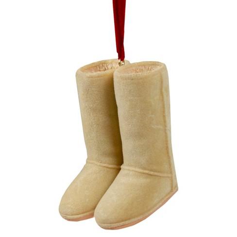 "Kurt S. Adler 3"" Fashion Avenue Sherpa-Look Stylish Boots Christmas Ornament - Tan - image 1 of 3"