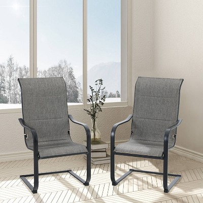 2pk Steel Patio Padded Sling C-Spring Arm Chairs - Captiva Designs